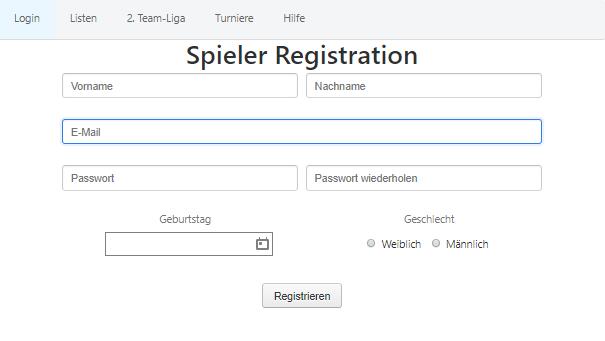 Neue Liga Software - Spieler Registrierung